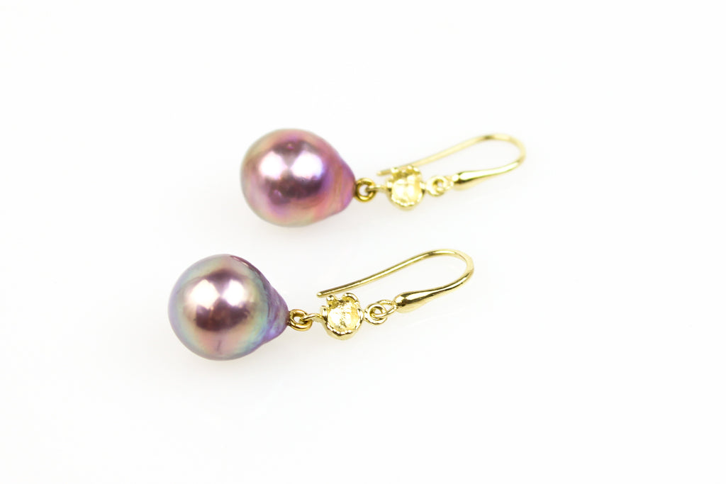 resplendent natural color baroque pearl earrings