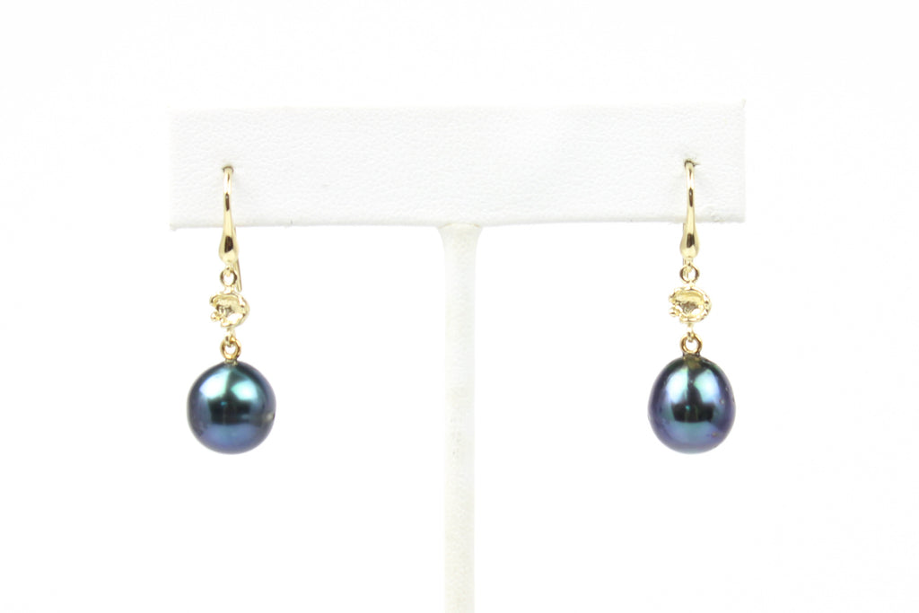 blue tahitian beauties pearl earrings