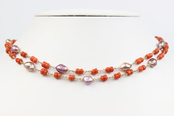 vintage coral and chosen keshi wrap necklace