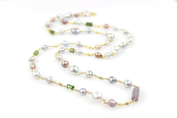 ariadne's thread akoya south sea rosebud pearl necklace