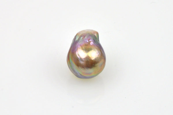 baroque teardrop with metallic rainbow luster pearl