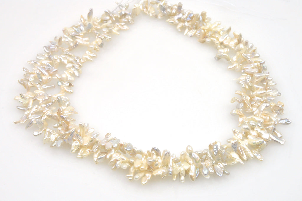 "3 strand lot of ""keshi"" sliver pearls"