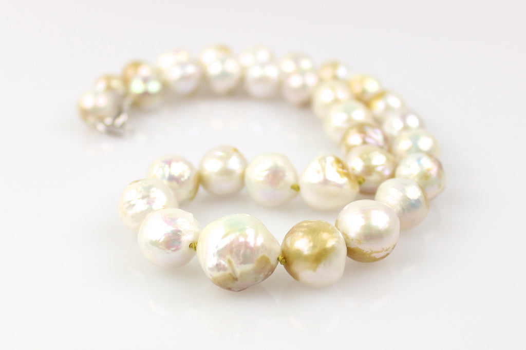 graduated bronze accented baroque freshwater pearl necklace