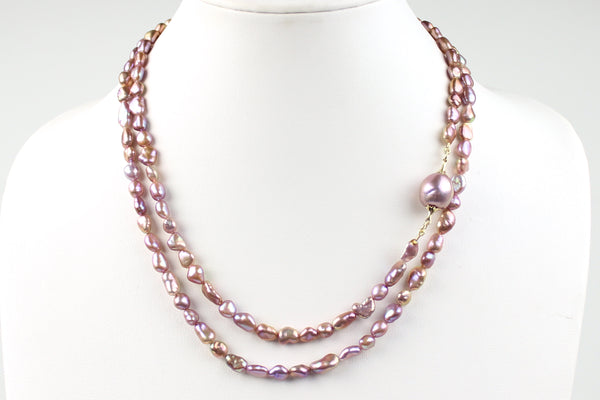 "lavender ""chosen"" keshi pearl rope necklace"