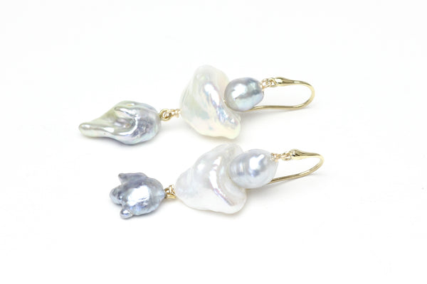 crushed blossom chinese freshwater and japan akoya pearl earrings