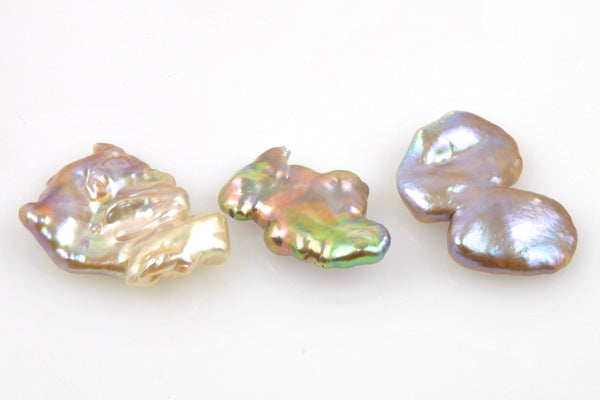 3 pearl lot of iridescent petal pearls