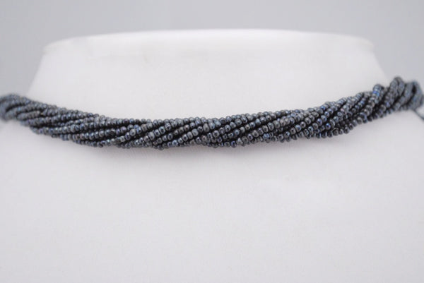 10 strand lot of dyed blue/black seed pearls