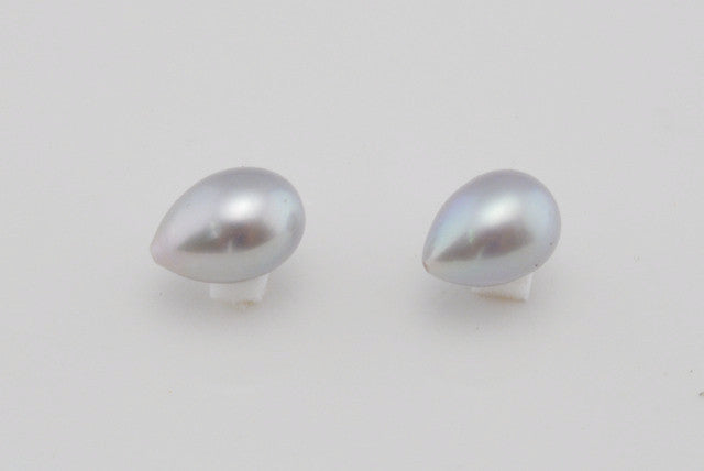 dyed silver/grey pearl drop pair