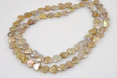 chinese fresh water heart coin pearl strand