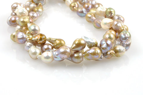 three strand lot of baroque drop fancy medley pearls