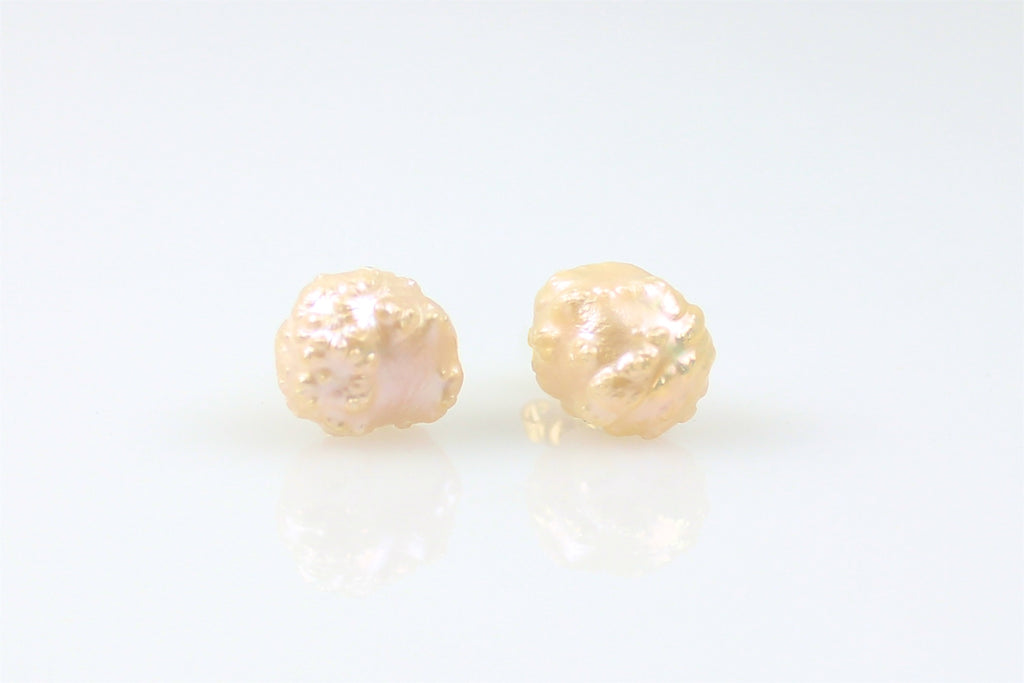 peach rosebud bubble pearl stud earrings