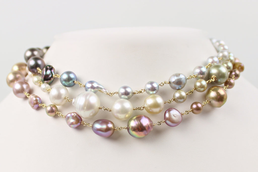 rainbow's kiss full body pearl necklace