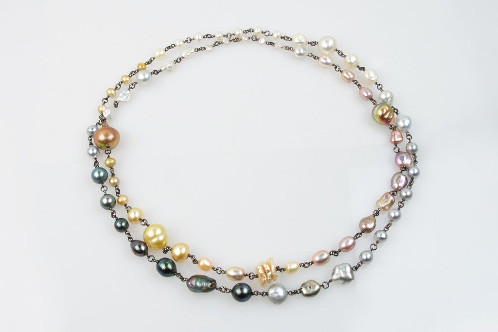 Rainbow Pearl Medley Rope Necklace