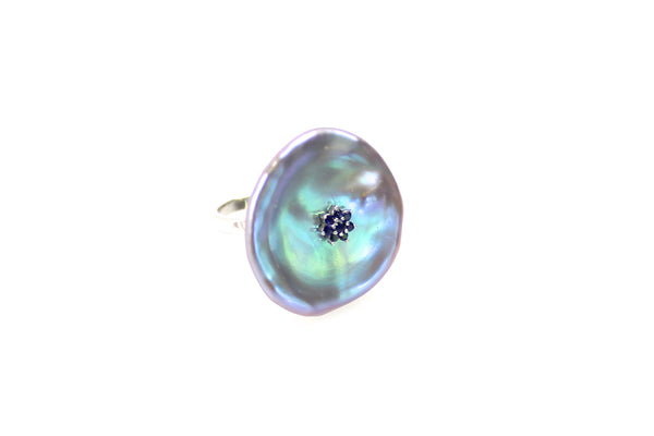 radiant blue pearl ring with sapphire blossom