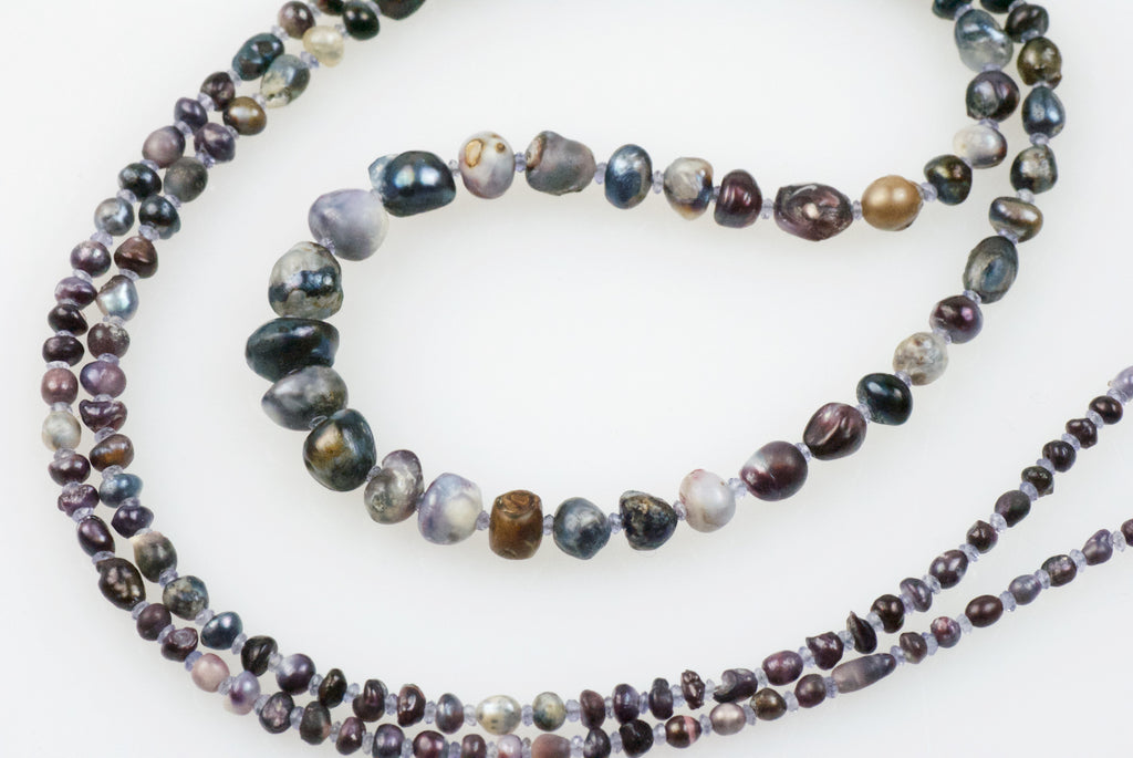 natural wild found purple pearl necklace