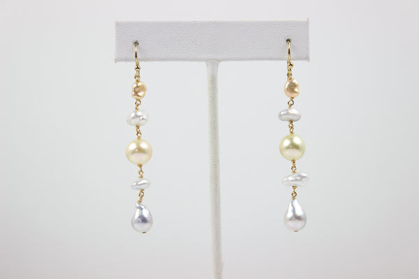 subtle natural color pearl mobile earrings
