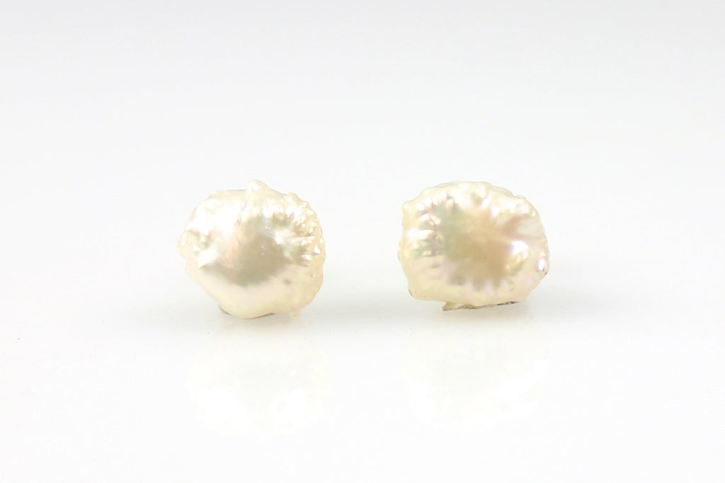 white rosebud pearl stud earrings