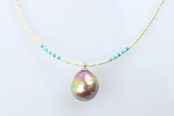turquoise and pearl tightrope necklace