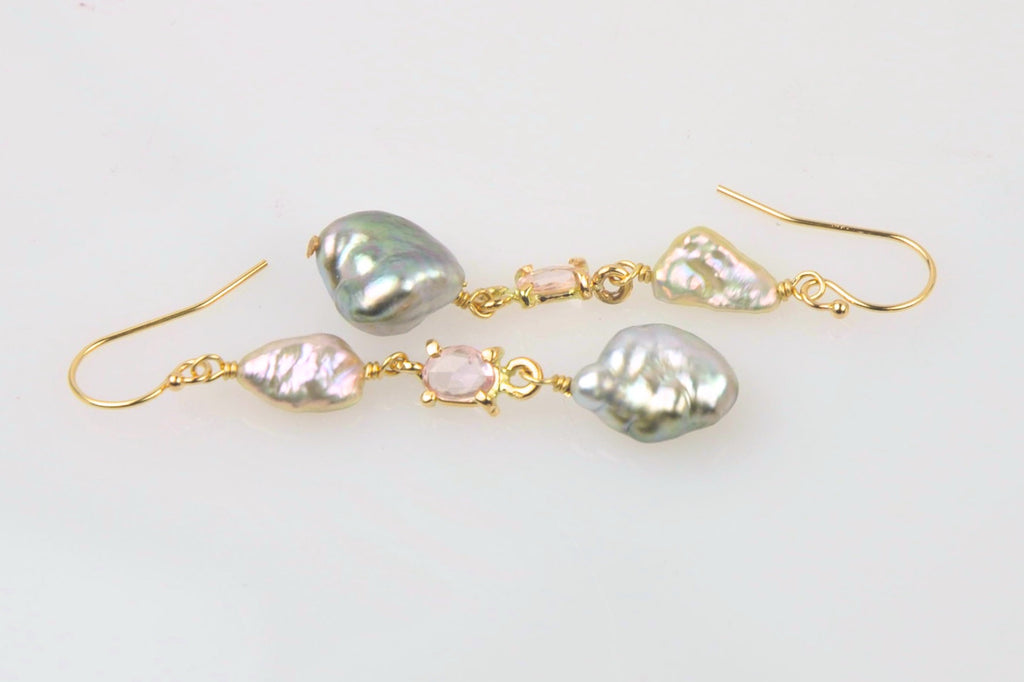 keshi pearl medley and sapphire earrings