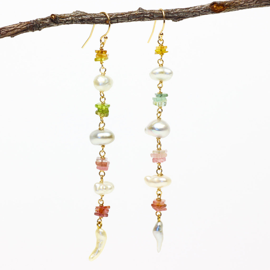 Golden light tourmaline and keshi pearl earrings