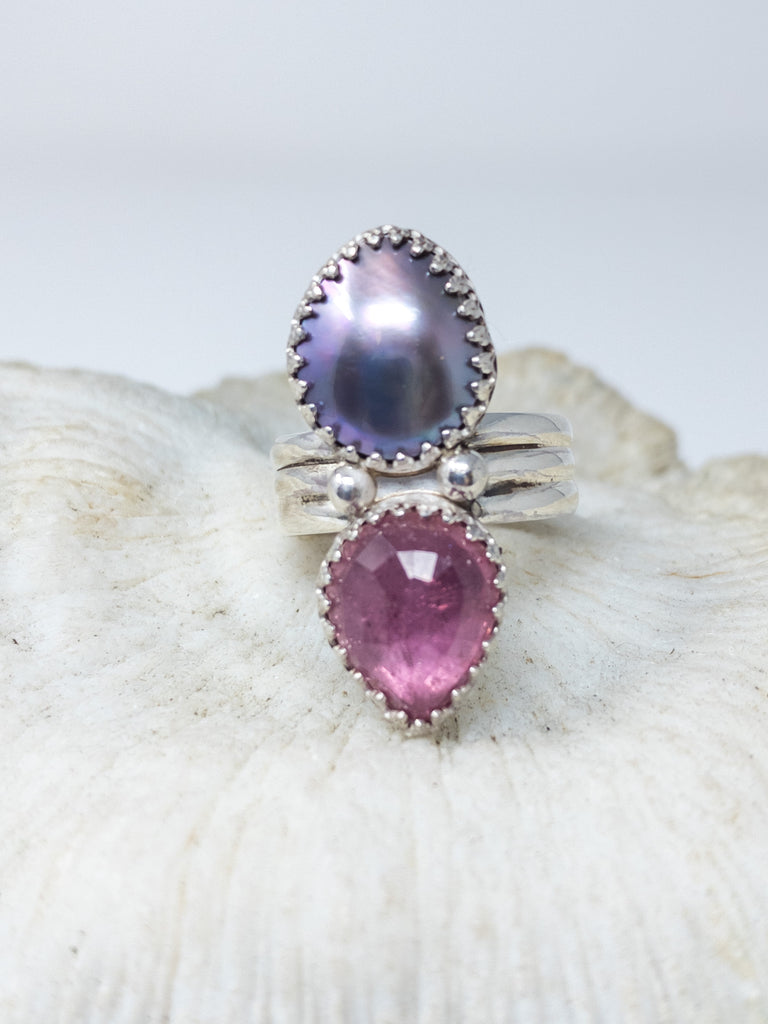 Size 7 Sea of Cortez and pink tourmaline ring
