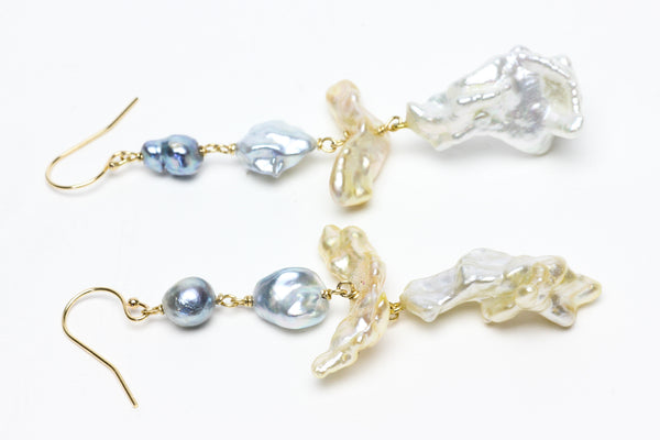 angel trumpet keshi pearl earrings