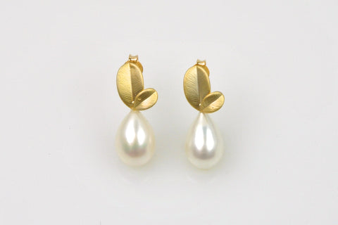 ripe pear white teardrop pearl earrings