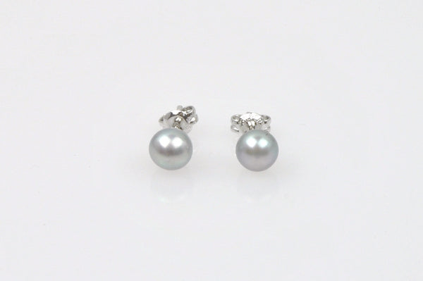 tiny silver button pearl  post earrings