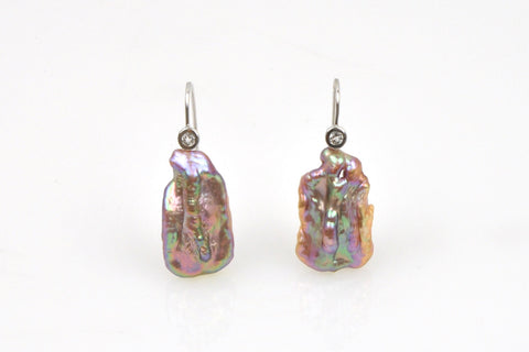 rainbow metallic pecan pearl earrings