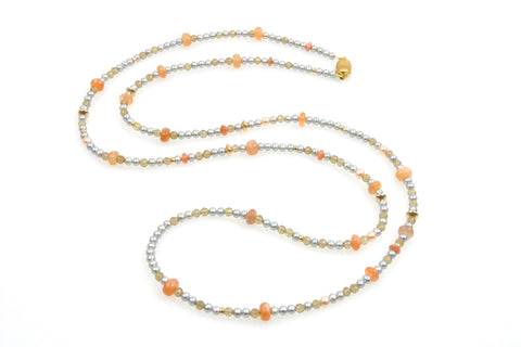 moonstone rope with gold filled beads and dyed silver chinese freshwater pearls