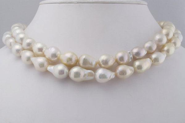 2 strand lot of drop-shaped white blush pearls