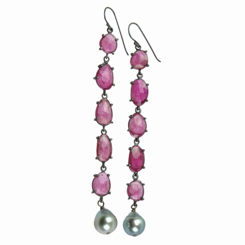 pink sapphire and tahitian pearl looooonnnnnggggg earrings