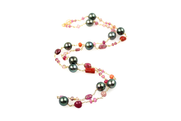 first ceremony pink tourmaline and tahitian pearl necklace