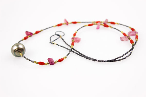 warm reds and tahitian pearl layering necklace