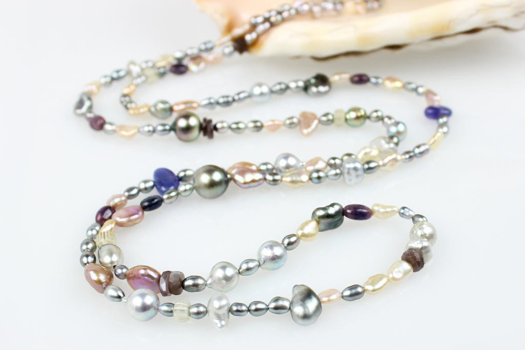 dusk rising tahitian pearls and tanzanite rope necklace