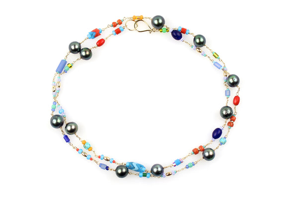 African glass and tahitian pearl wrap necklace