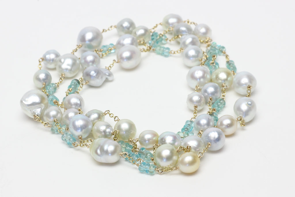 south sea pearl and apatite bead wrap necklace