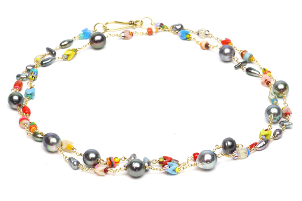 tahitian baroque and keshi pearl rainbow medley rope necklace