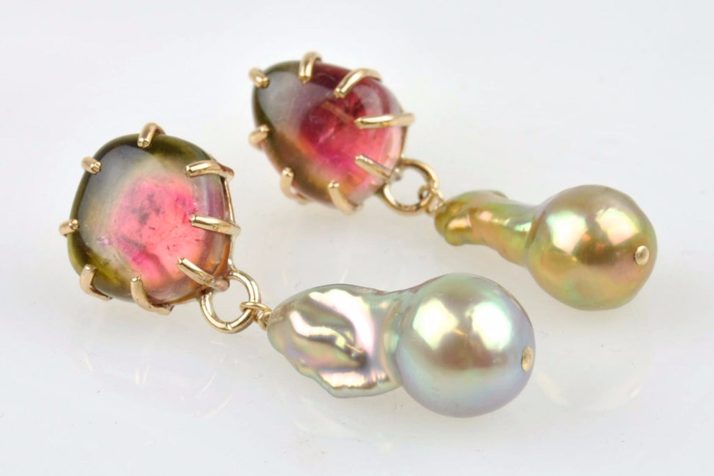 watermelon tourmaline and metallic drop pearl earrings