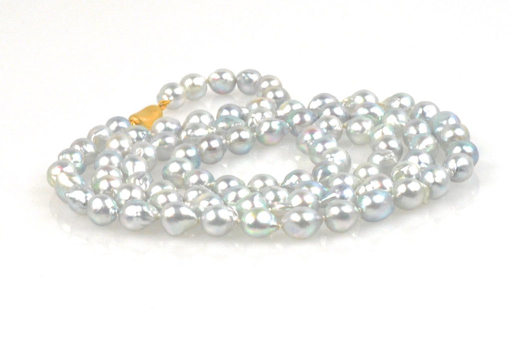 silvery blue japan akoya baroque pearl rope