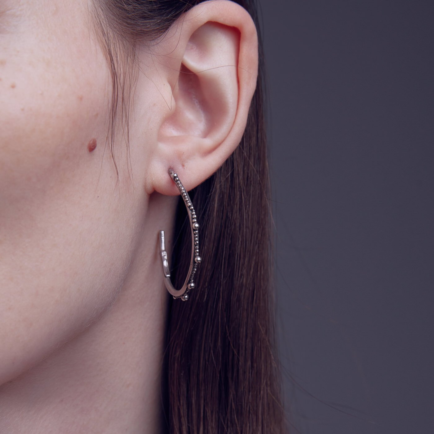 earring cenote maxi pearl hoop silver product view innan jewellery