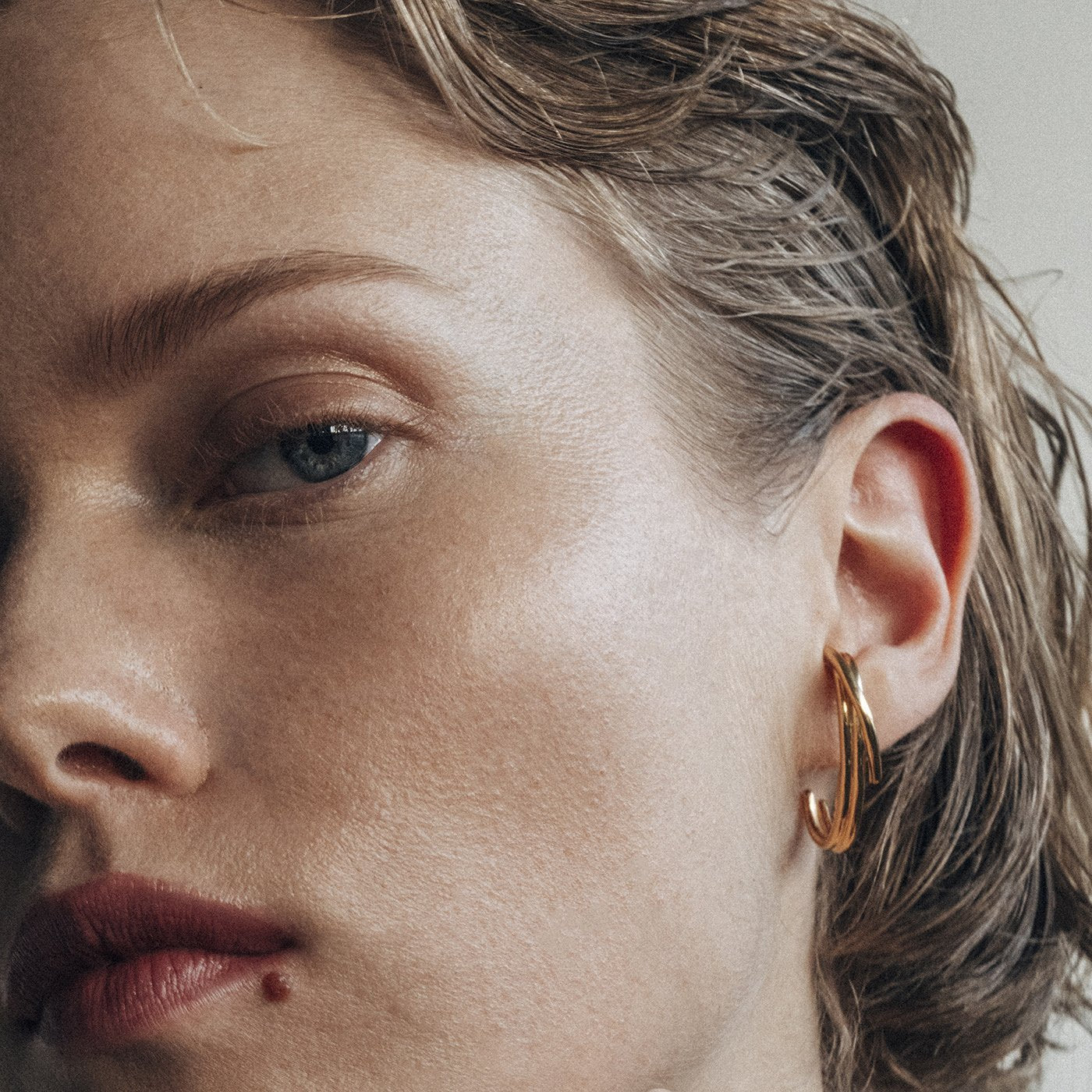 earrings golden drift silver plated product view innan jewellery  in stock