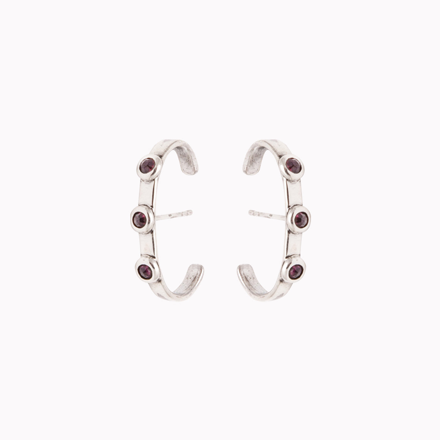 earrings luna earring silver red garnets product view innan jewellery