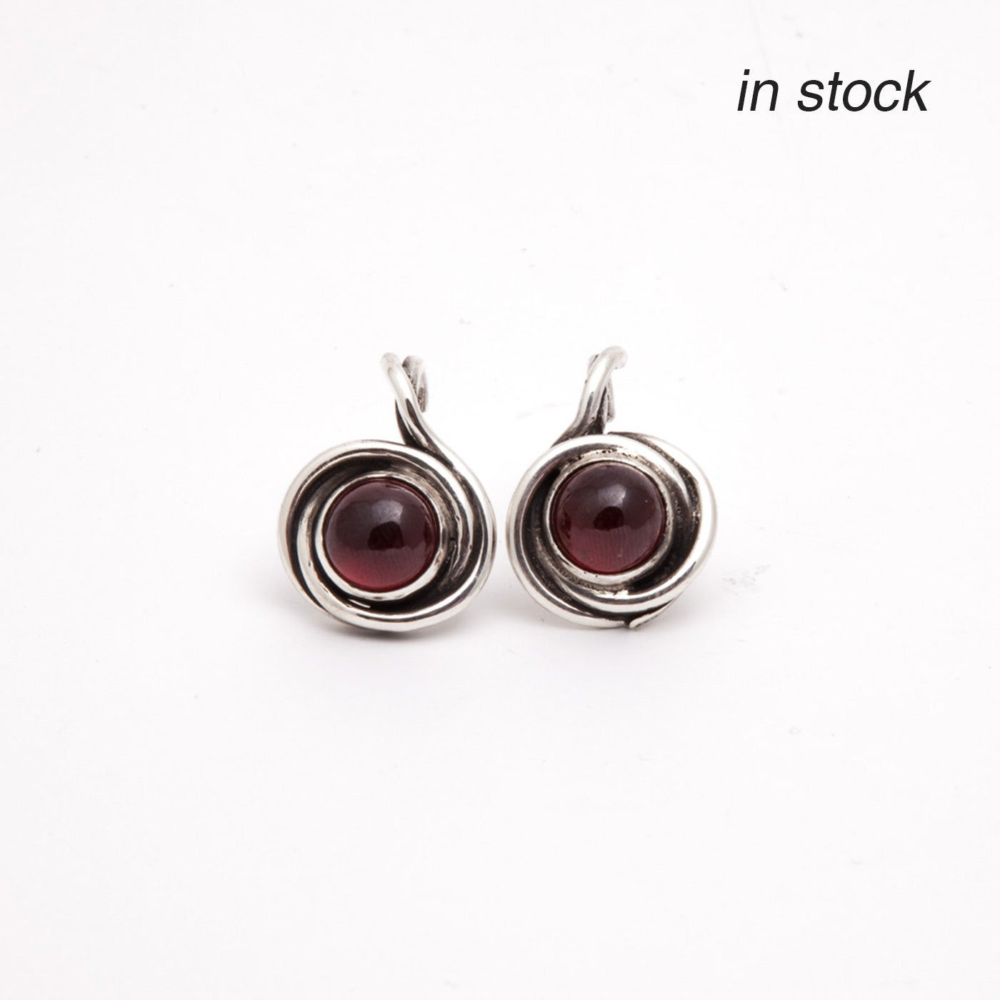 earrings twist silver red garnet product view innan jewellery