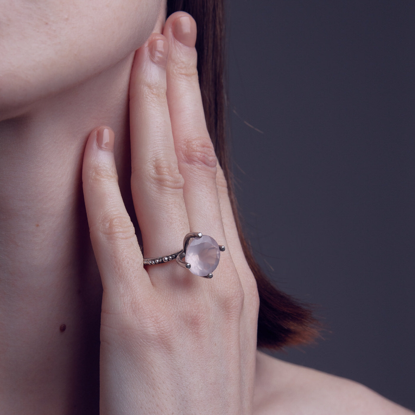 ring stardust rose silver rose quartz product view innan jewellery