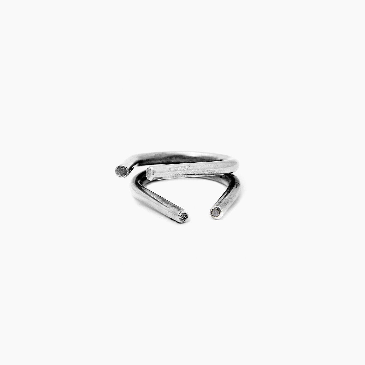ring chaotic duo silver black diamond product view innan jewellery