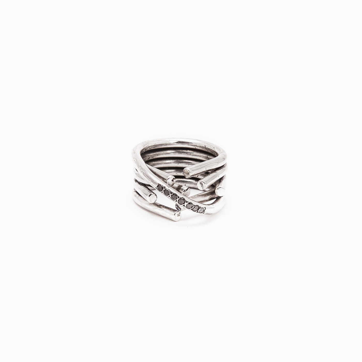 ring chaotic infinity ring silver black diamond product view innan jewellery