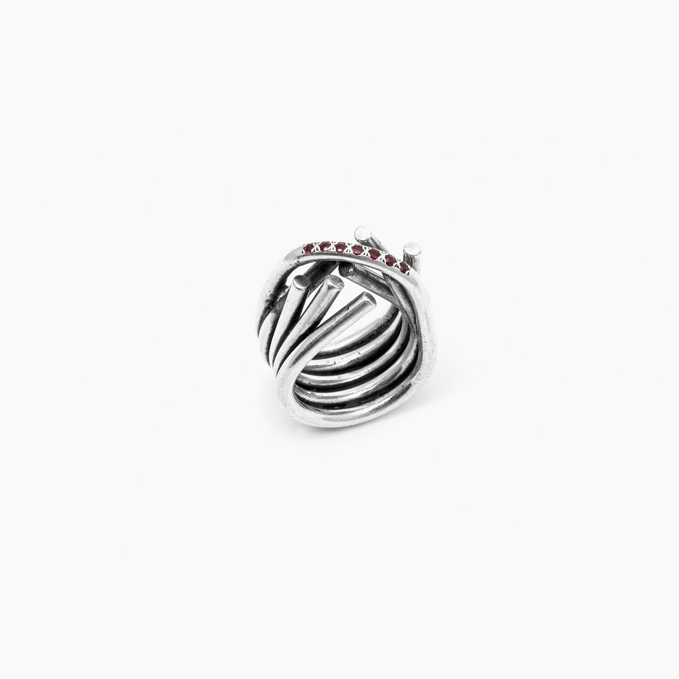 ring chaotic infinity ring silver red ruby product view innan jewellery