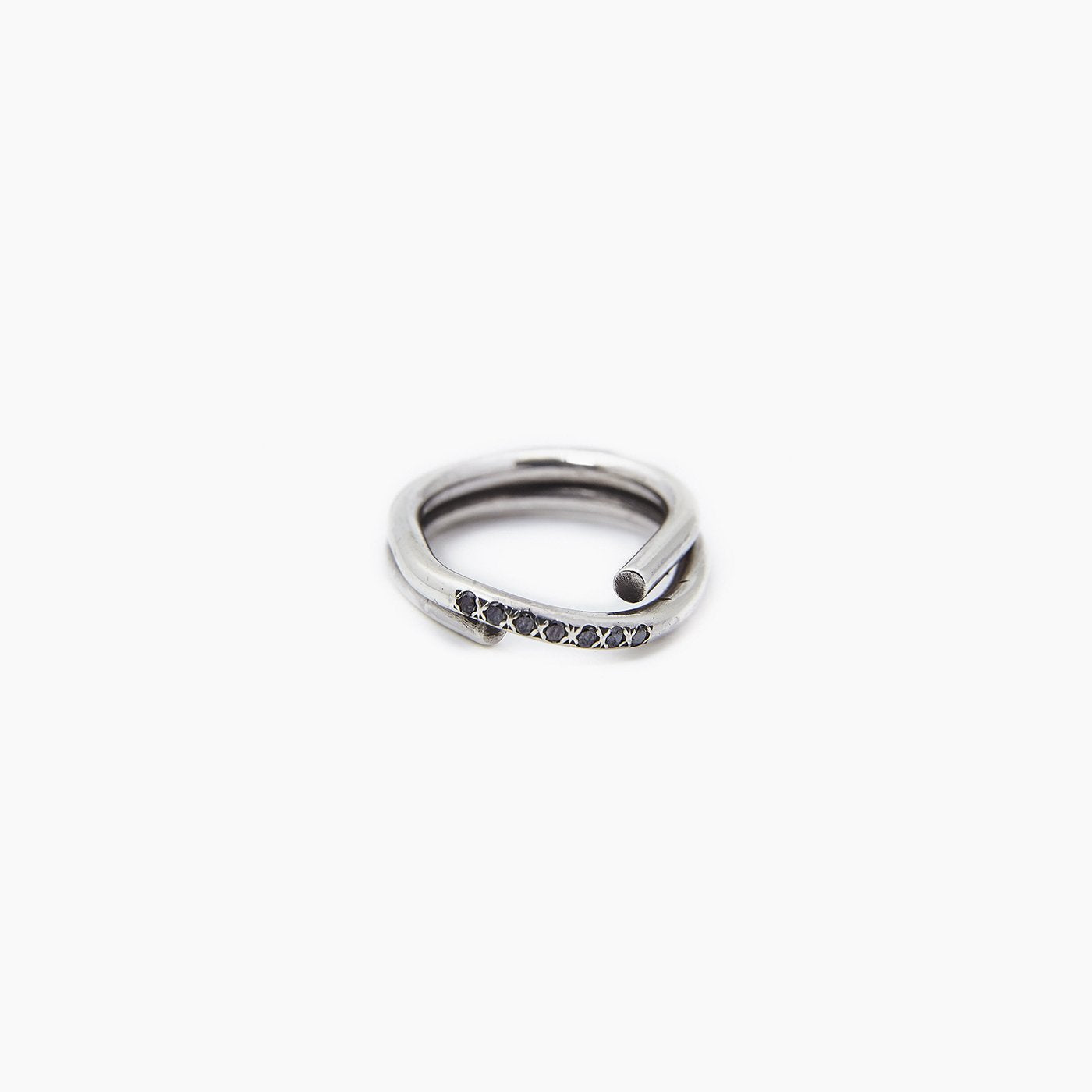 ring chaotic petite infinity silver black diamond product view innan jewellery