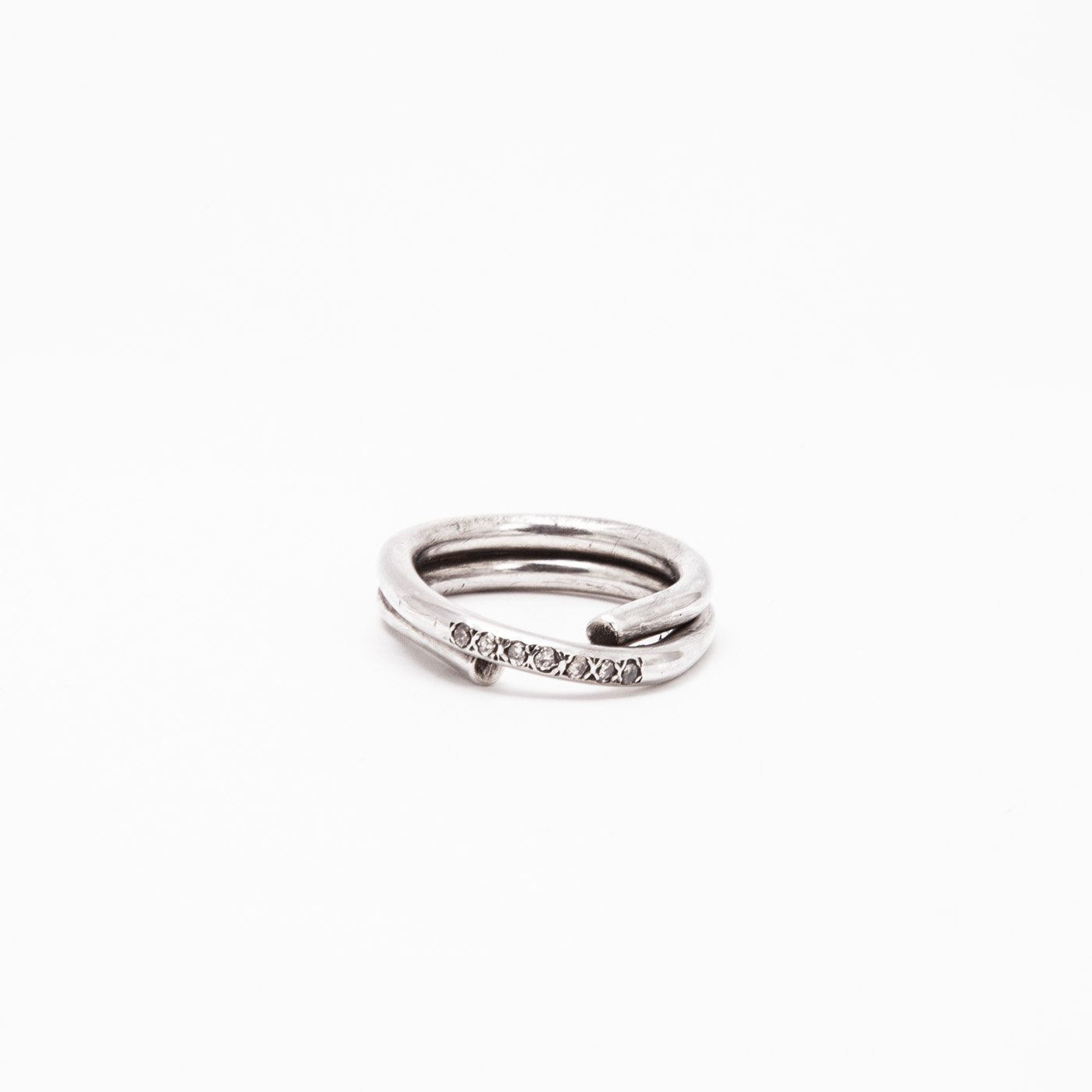 ring chaotic petite infinity silver champagne diamond product view innan jewellery